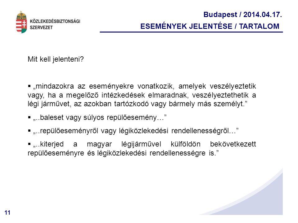 """11 Budapest / 2014.04.17. ESEMÉNYEK JELENTÉSE / TARTALOM Mit kell jelenteni?  """"mindazokra az eseményekre vonatkozik, amelyek veszélyeztetik vagy, ha"""