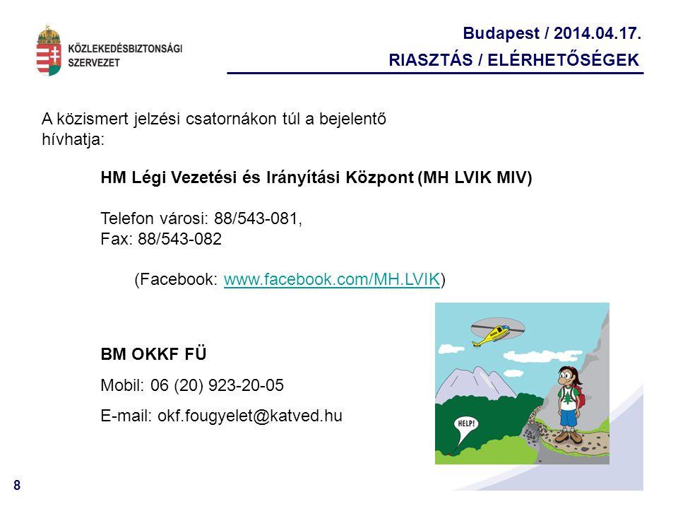 8 Budapest / 2014.04.17. RIASZTÁS / ELÉRHETŐSÉGEK HM Légi Vezetési és Irányítási Központ (MH LVIK MIV) Telefon városi: 88/543-081, Fax: 88/543-082 (Fa