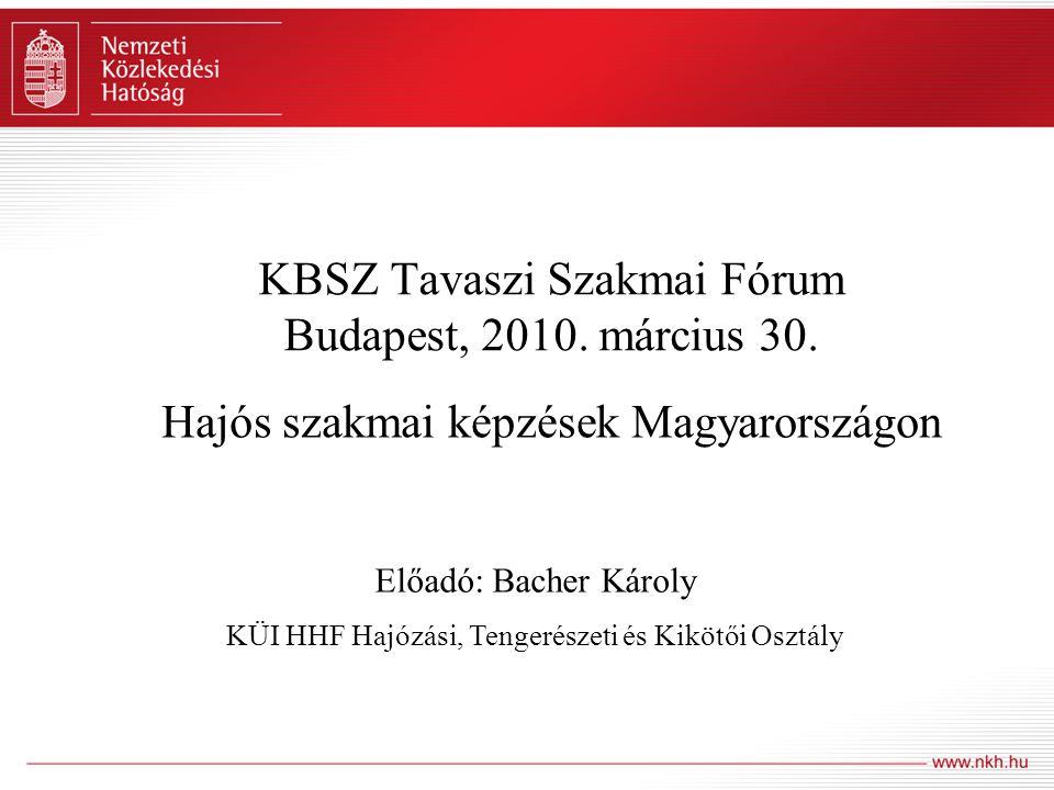 KBSZ Tavaszi Szakmai Fórum Budapest, 2010. március 30. Hajós szakmai képzések Magyarországon Előadó: Bacher Károly KÜI HHF Hajózási, Tengerészeti és K