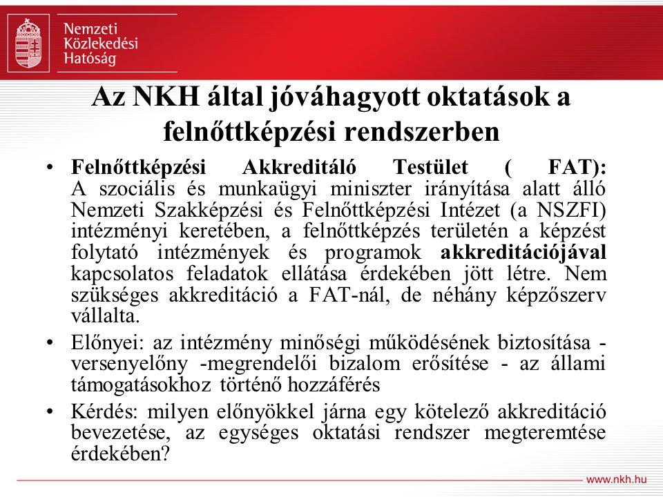 Az NKH által jóváhagyott oktatások a felnőttképzési rendszerben Felnőttképzési Akkreditáló Testület ( FAT): A szociális és munkaügyi miniszter irányít