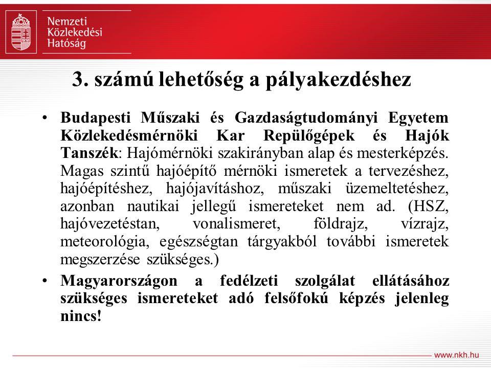 3. számú lehetőség a pályakezdéshez Budapesti Műszaki és Gazdaságtudományi Egyetem Közlekedésmérnöki Kar Repülőgépek és Hajók Tanszék: Hajómérnöki sza
