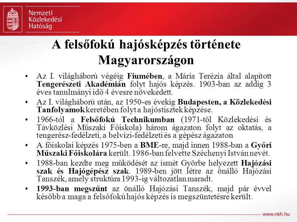 A felsőfokú hajósképzés története Magyarországon Az I. világháború végéig Fiumében, a Mária Terézia által alapított Tengerészeti Akadémián folyt hajós