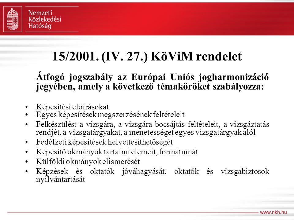 15/2001. (IV. 27.) KöViM rendelet Átfogó jogszabály az Európai Uniós jogharmonizáció jegyében, amely a következő témaköröket szabályozza: Képesítési e