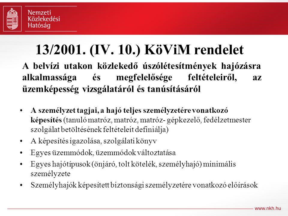 13/2001. (IV. 10.) KöViM rendelet A személyzet tagjai, a hajó teljes személyzetére vonatkozó képesítés (tanuló matróz, matróz, matróz- gépkezelő, fedé