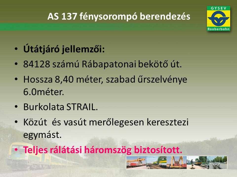 Útátjáró jellemzői: 84128 számú Rábapatonai bekötő út. Hossza 8,40 méter, szabad űrszelvénye 6.0méter. Burkolata STRAIL. Közút és vasút merőlegesen ke