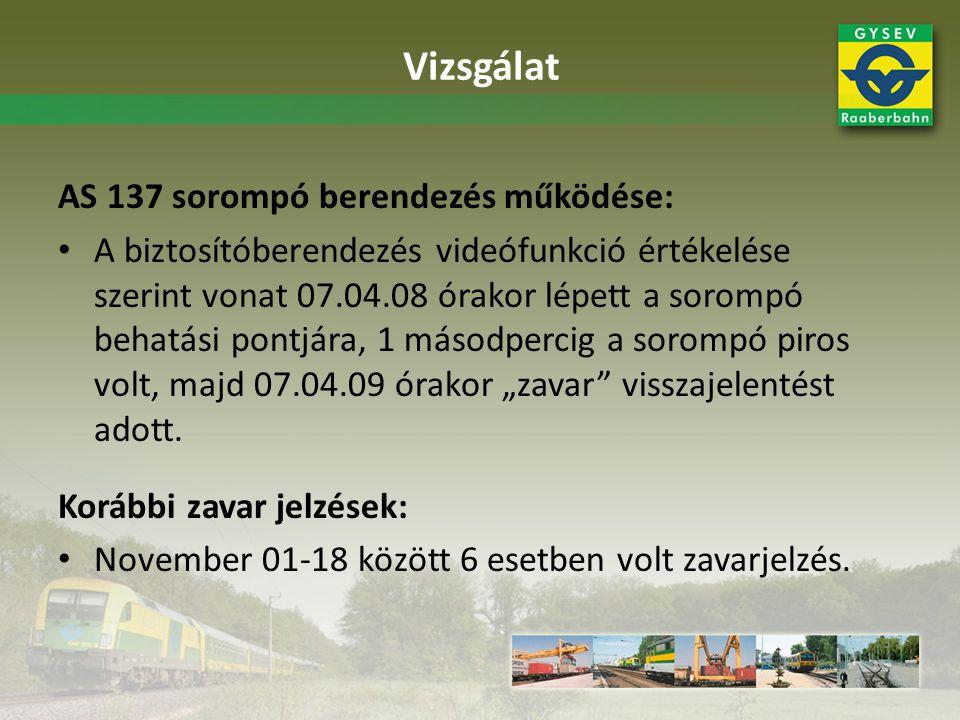 AS 137 sorompó berendezés működése: A biztosítóberendezés videófunkció értékelése szerint vonat 07.04.08 órakor lépett a sorompó behatási pontjára, 1