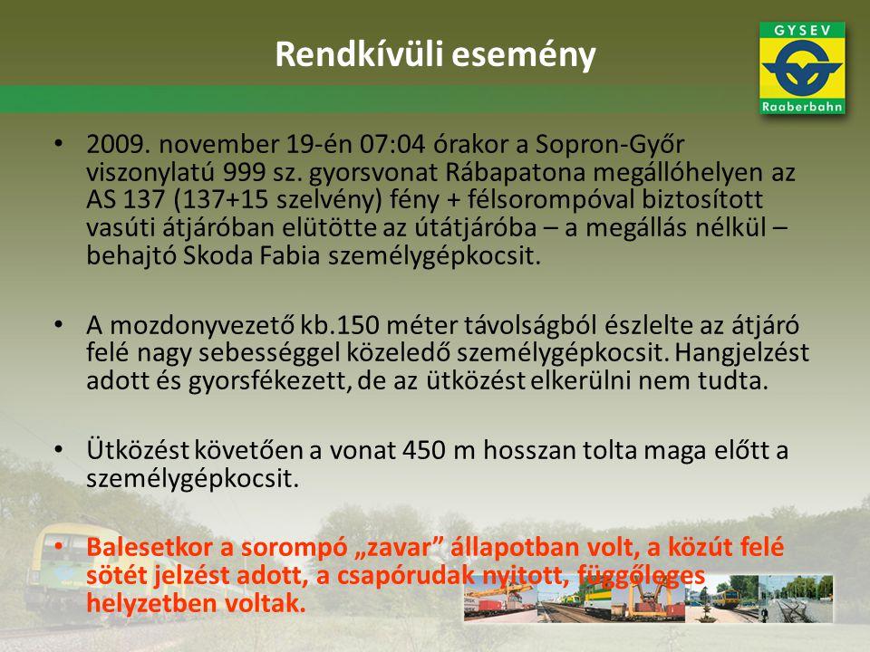 Rendkívüli esemény 2009. november 19-én 07:04 órakor a Sopron-Győr viszonylatú 999 sz. gyorsvonat Rábapatona megállóhelyen az AS 137 (137+15 szelvény)