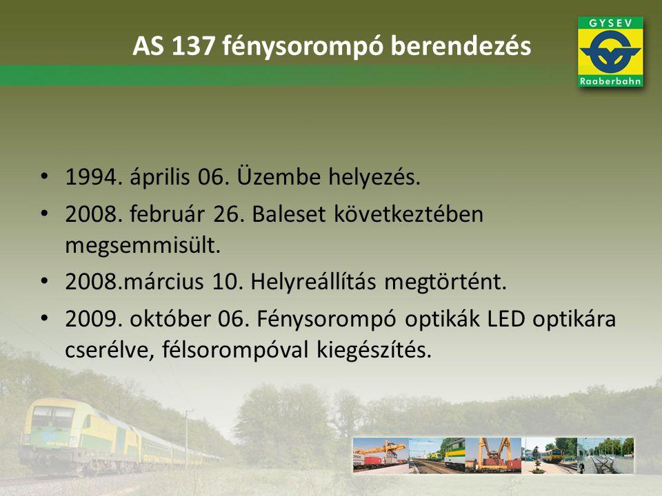 AS 137 fénysorompó berendezés 1994. április 06. Üzembe helyezés. 2008. február 26. Baleset következtében megsemmisült. 2008.március 10. Helyreállítás