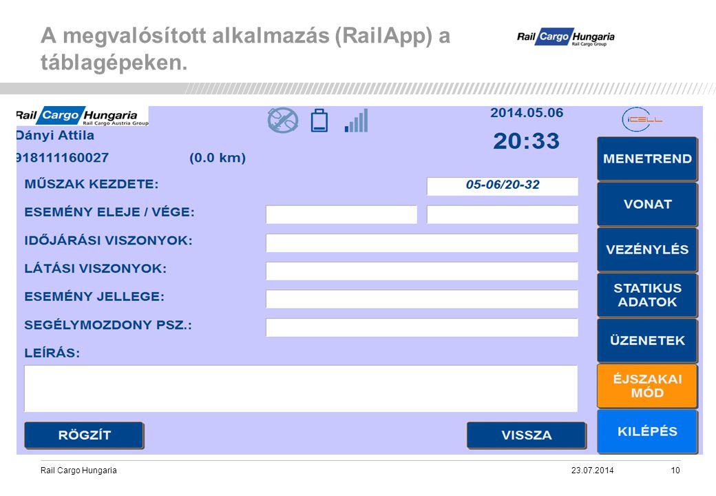 Rail Cargo Hungaria A megvalósított alkalmazás (RailApp) a táblagépeken. 23.07.201410