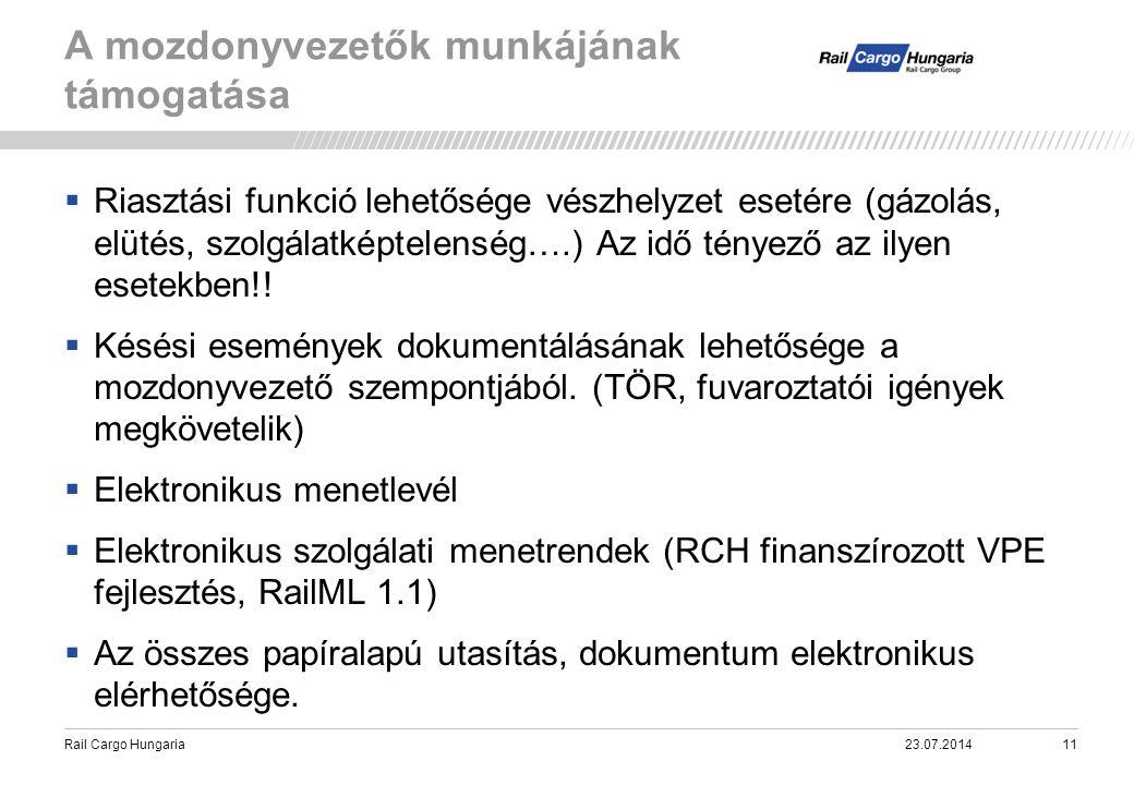 Rail Cargo Hungaria A mozdonyvezetők munkájának támogatása 23.07.201411  Riasztási funkció lehetősége vészhelyzet esetére (gázolás, elütés, szolgálat