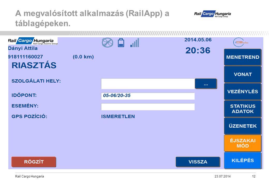 Rail Cargo Hungaria A megvalósított alkalmazás (RailApp) a táblagépeken. 23.07.201412