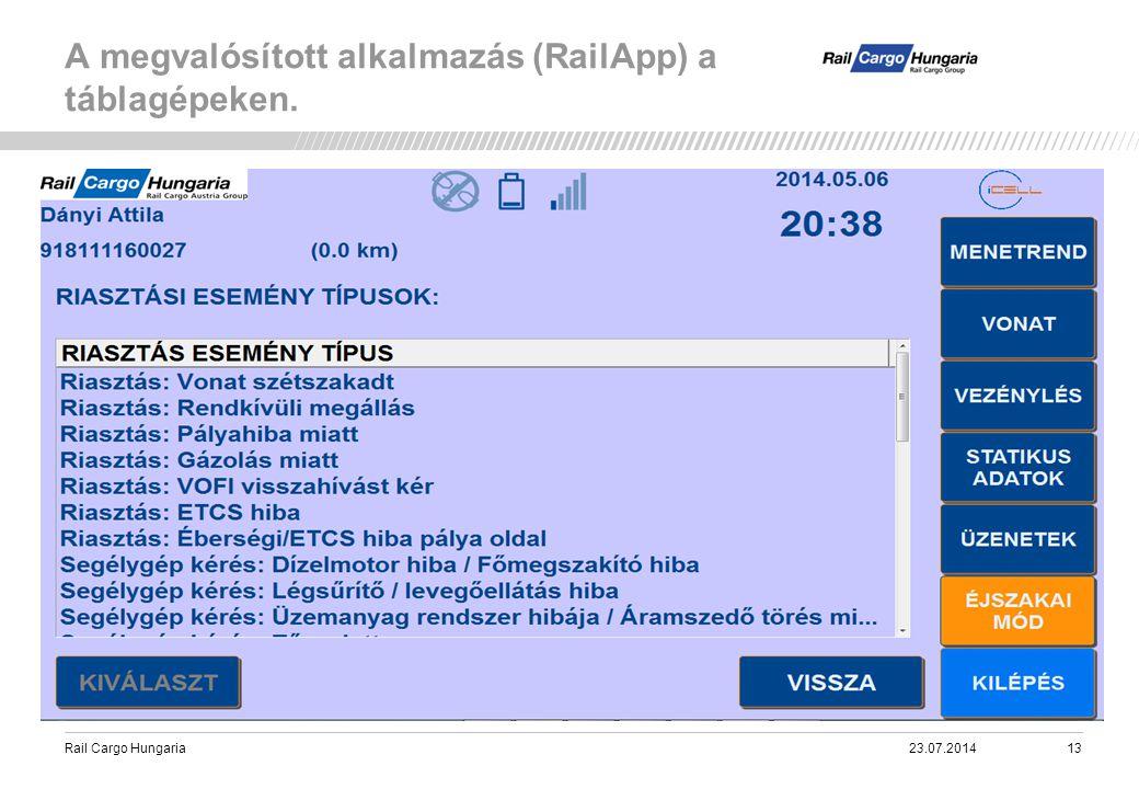 Rail Cargo Hungaria A megvalósított alkalmazás (RailApp) a táblagépeken. 23.07.201413