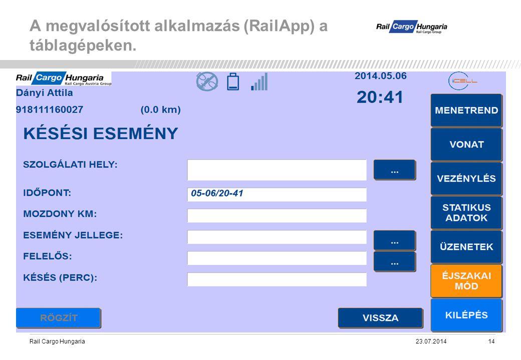 Rail Cargo Hungaria A megvalósított alkalmazás (RailApp) a táblagépeken. 23.07.201414