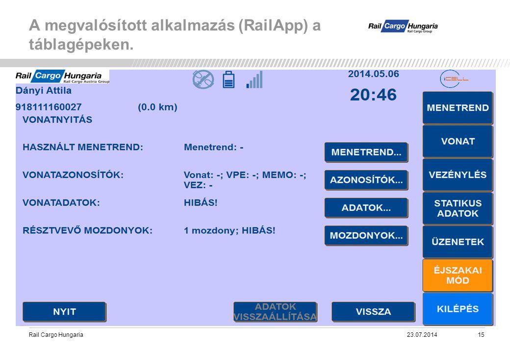 Rail Cargo Hungaria A megvalósított alkalmazás (RailApp) a táblagépeken. 23.07.201415