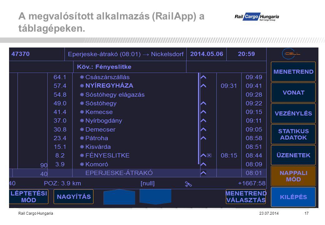 Rail Cargo Hungaria A megvalósított alkalmazás (RailApp) a táblagépeken. 23.07.201417