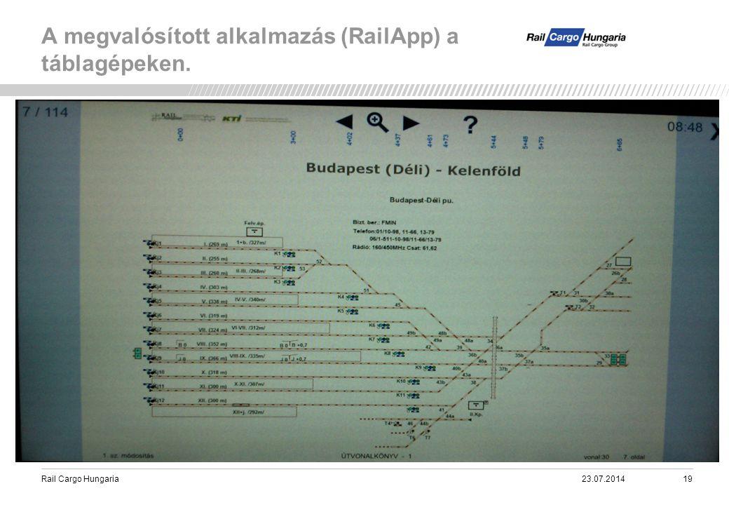 Rail Cargo Hungaria A megvalósított alkalmazás (RailApp) a táblagépeken. 23.07.201419