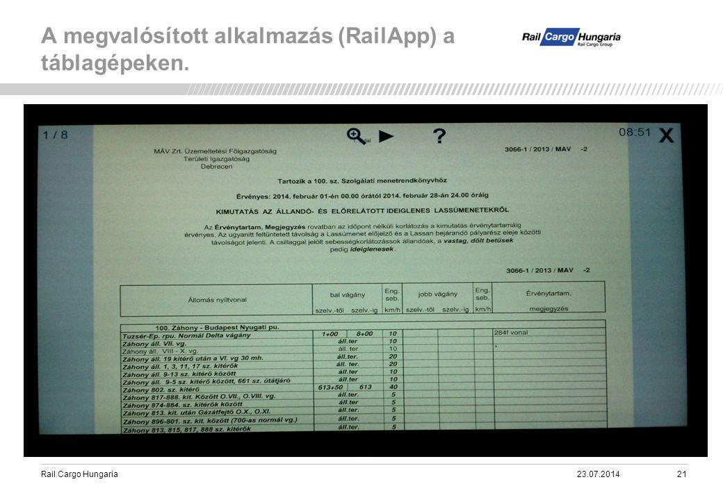Rail Cargo Hungaria A megvalósított alkalmazás (RailApp) a táblagépeken. 23.07.201421