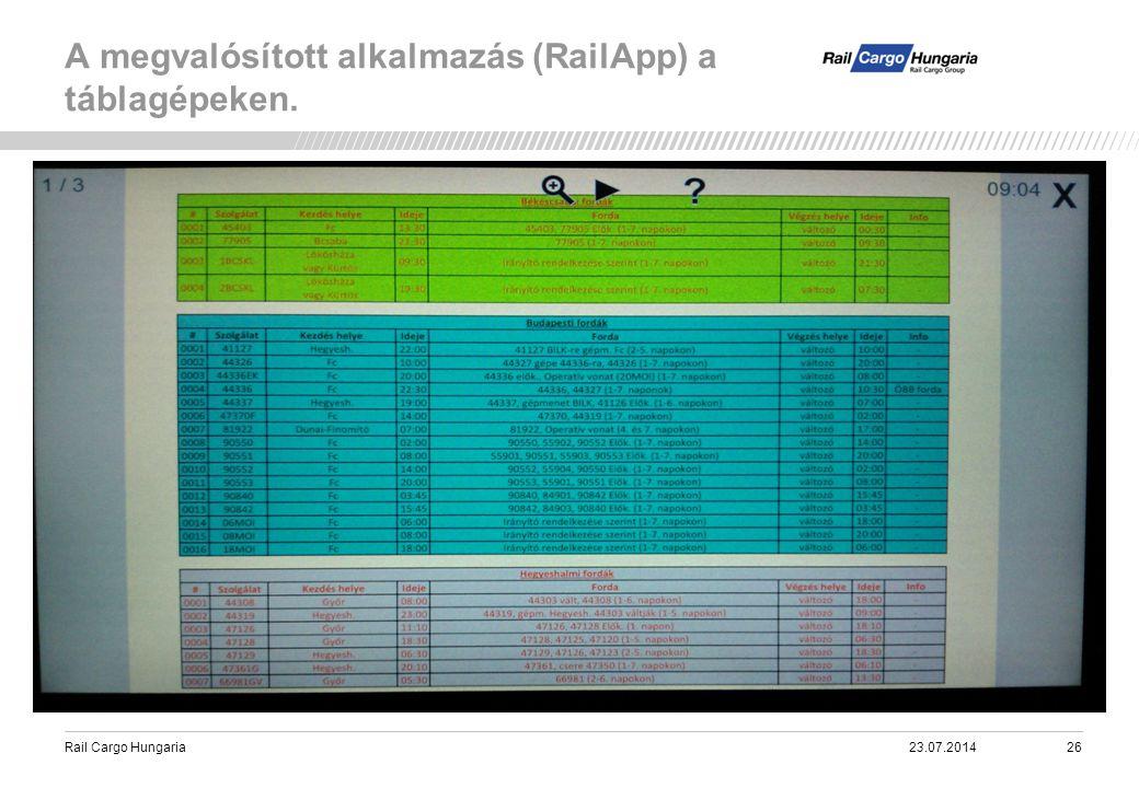 Rail Cargo Hungaria A megvalósított alkalmazás (RailApp) a táblagépeken. 23.07.201426