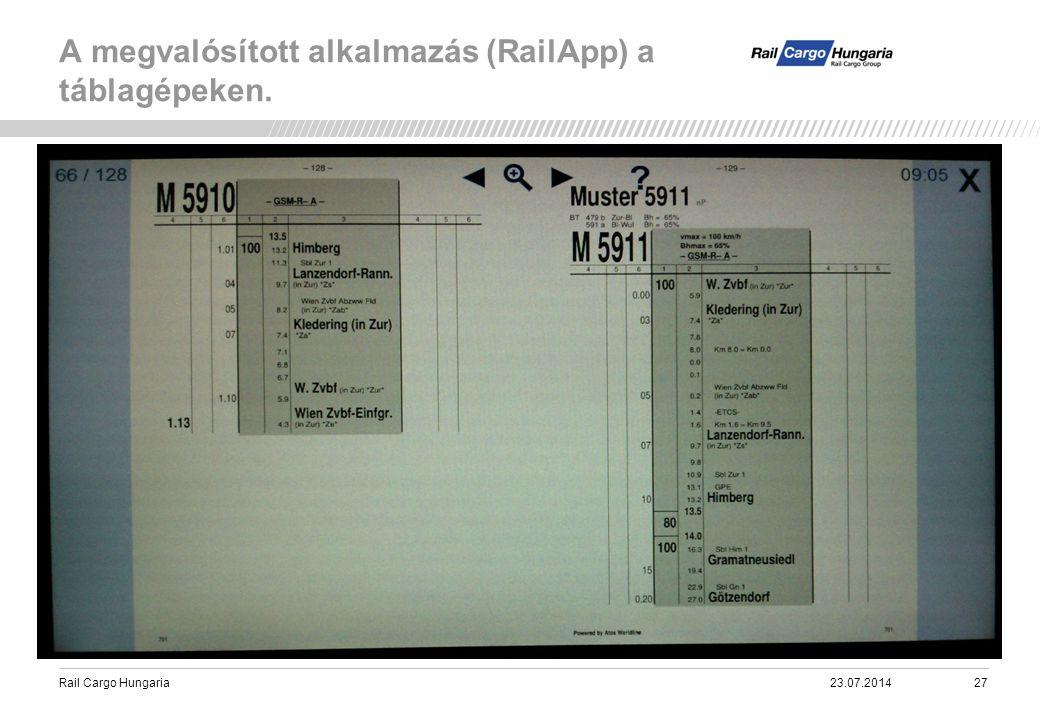 Rail Cargo Hungaria A megvalósított alkalmazás (RailApp) a táblagépeken. 23.07.201427