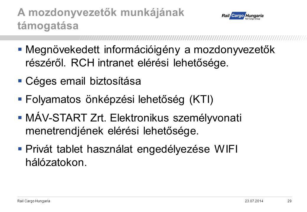 Rail Cargo Hungaria A mozdonyvezetők munkájának támogatása 23.07.201429  Megnövekedett információigény a mozdonyvezetők részéről. RCH intranet elérés