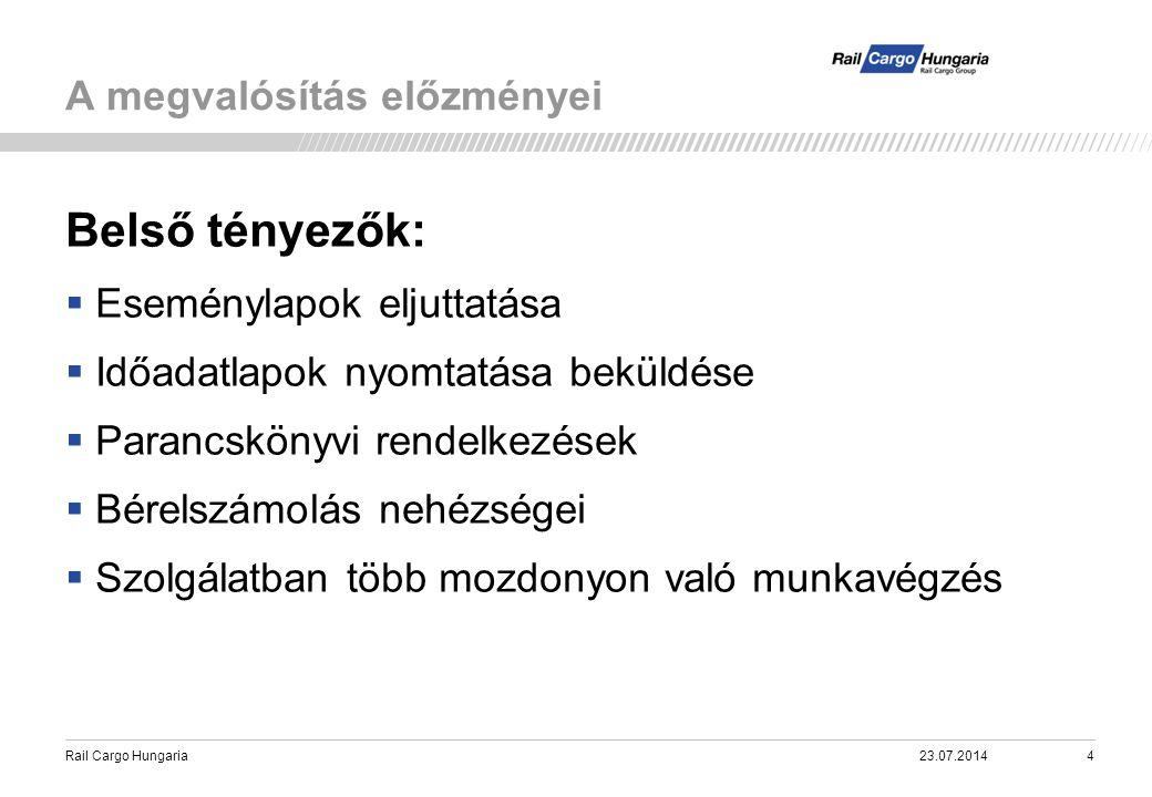 Rail Cargo Hungaria A megvalósítás előzményei 23.07.20145 Külső tényezők:  Szigetszerűen működő IT rendszerek alkalmazások.