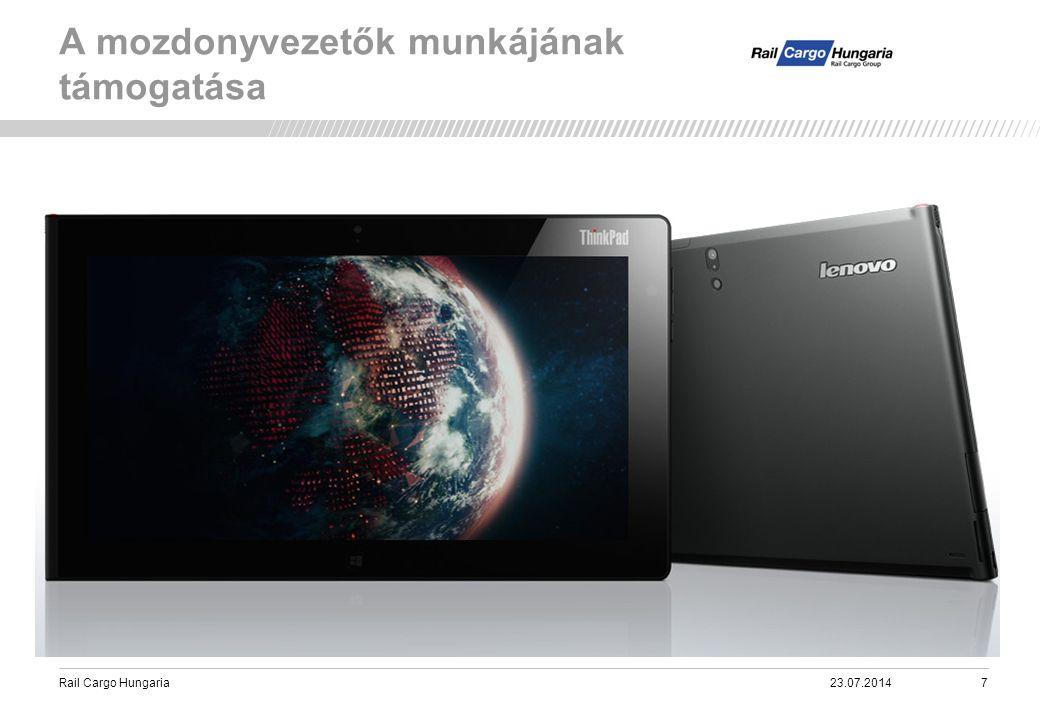 Rail Cargo Hungaria A megvalósított alkalmazás (RailApp) a táblagépeken. 23.07.201428