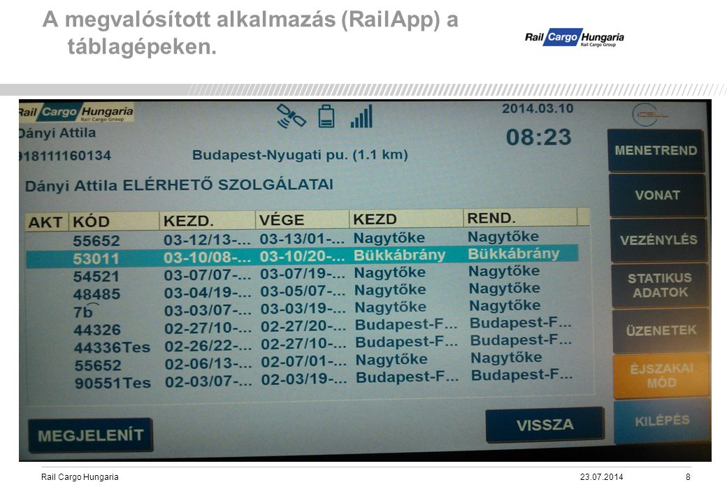 Rail Cargo Hungaria A megvalósított alkalmazás (RailApp) a táblagépeken. 23.07.20148