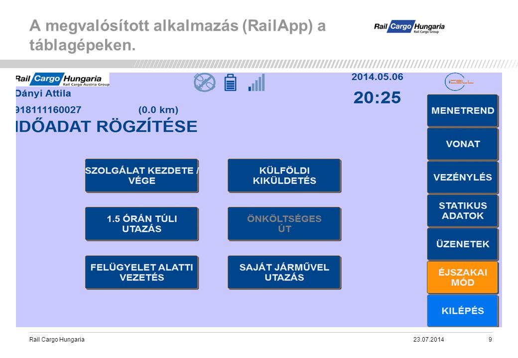 Rail Cargo Hungaria A megvalósított alkalmazás (RailApp) a táblagépeken. 23.07.201420