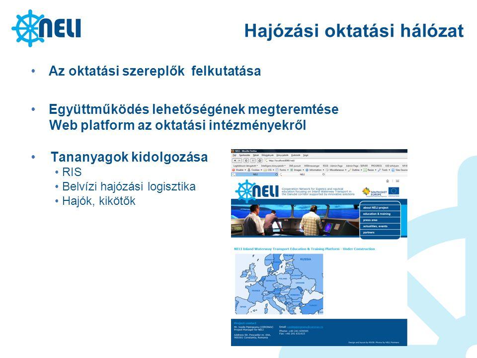 Hajózási oktatási hálózat Az oktatási szereplők felkutatása Együttműködés lehetőségének megteremtése Web platform az oktatási intézményekről Tananyago