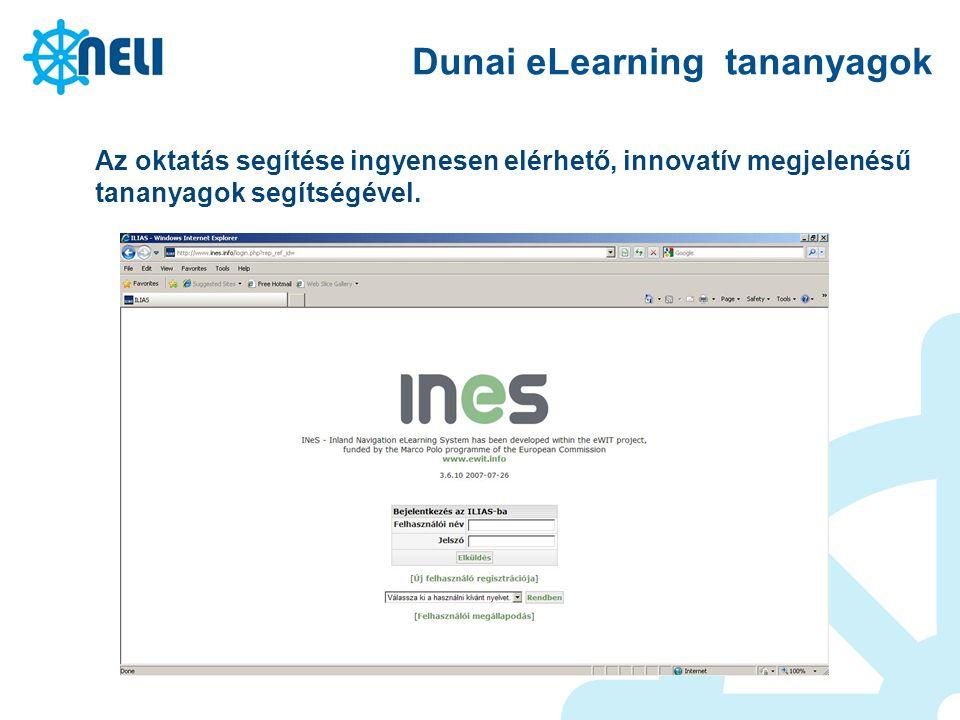 Dunai eLearning tananyagok Az oktatás segítése ingyenesen elérhető, innovatív megjelenésű tananyagok segítségével.