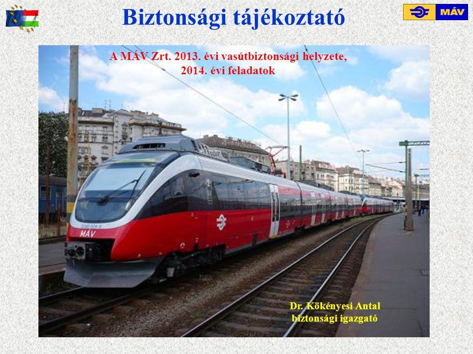 Biztonsági tájékoztató Dr. Kökényesi Antal biztonsági igazgató A MÁV Zrt. 2013. évi vasútbiztonsági helyzete, 2014. évi feladatok