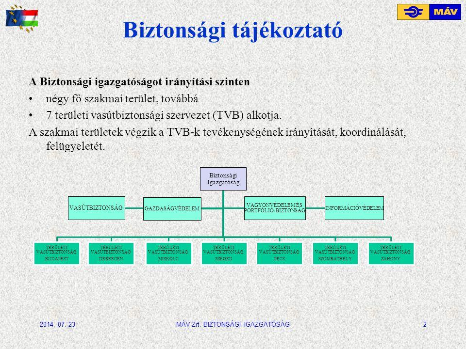 Biztonsági tájékoztató A Biztonsági igazgatóságot irányítási szinten négy fő szakmai terület, továbbá 7 területi vasútbiztonsági szervezet (TVB) alkot