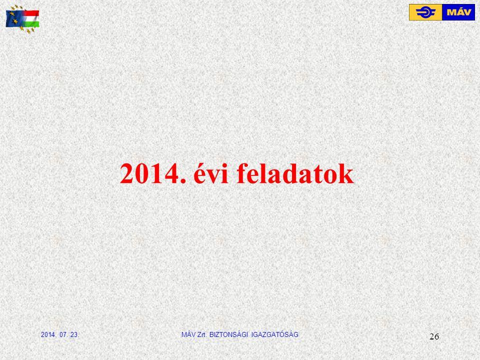 2014. évi feladatok 26 MÁV Zrt. BIZTONSÁGI IGAZGATÓSÁG2014. 07. 23.