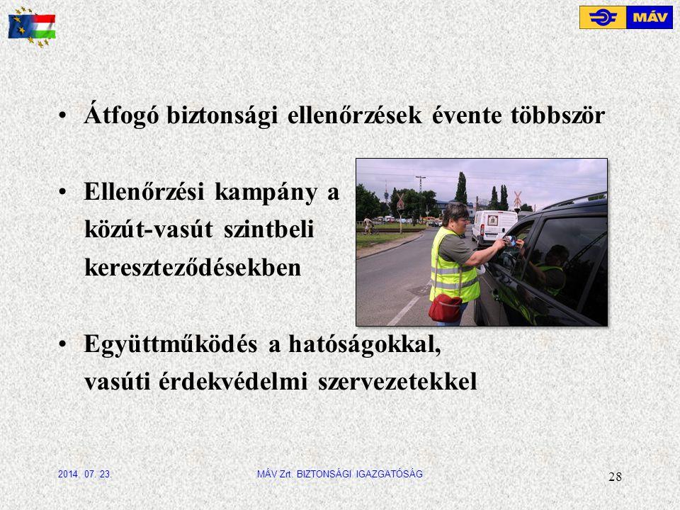 Átfogó biztonsági ellenőrzések évente többször Ellenőrzési kampány a közút-vasút szintbeli kereszteződésekben Együttműködés a hatóságokkal, vasúti érdekvédelmi szervezetekkel 28 MÁV Zrt.