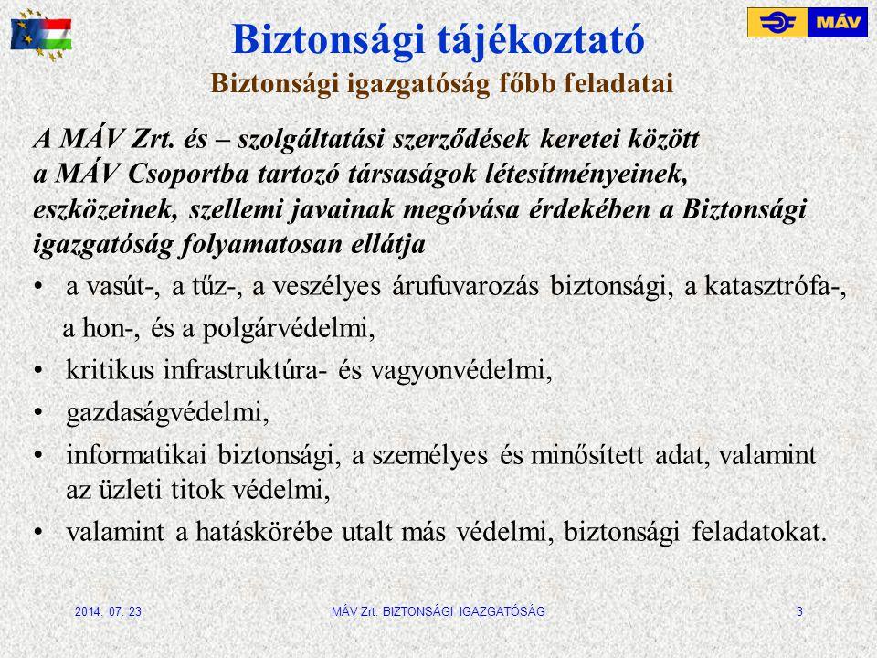 Biztonsági tájékoztató Vagyonvédelmi és portfolió-biztonság -MÁV Zrt.