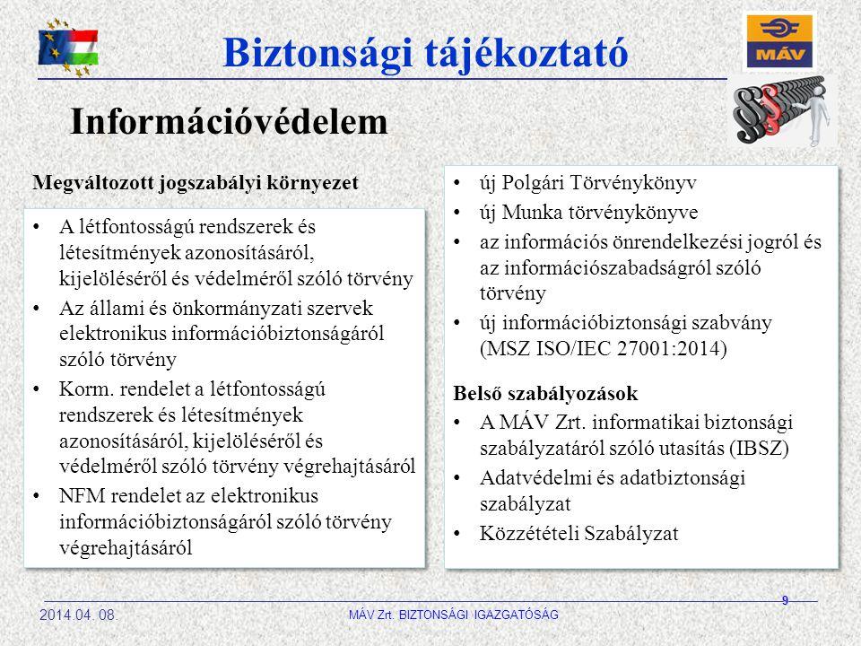 Biztonsági tájékoztató 2014.04. 08. MÁV Zrt. BIZTONSÁGI IGAZGATÓSÁG Információvédelem A létfontosságú rendszerek és létesítmények azonosításáról, kije