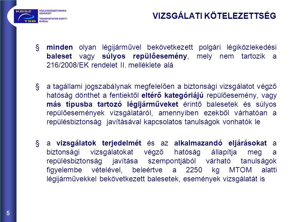 §minden olyan légijárművel bekövetkezett polgári légiközlekedési baleset vagy súlyos repülőesemény, mely nem tartozik a 216/2008/EK rendelet II.