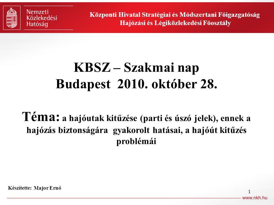 1 Központi Hivatal Stratégiai és Módszertani Főigazgatóság Hajózási és Légiközlekedési Főosztály KBSZ – Szakmai nap Budapest 2010.