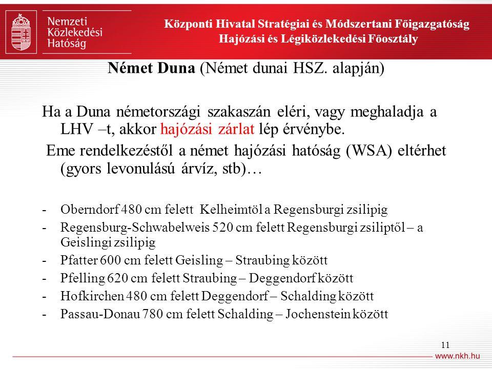 11 Központi Hivatal Stratégiai és Módszertani Főigazgatóság Hajózási és Légiközlekedési Főosztály Német Duna (Német dunai HSZ.
