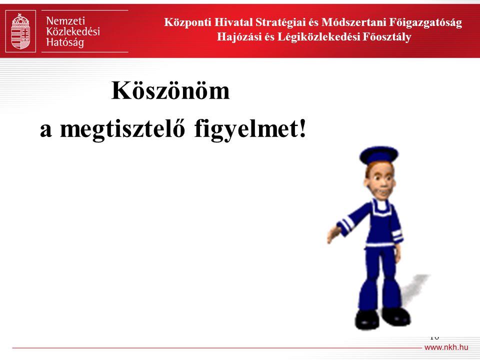 16 Központi Hivatal Stratégiai és Módszertani Főigazgatóság Hajózási és Légiközlekedési Főosztály Köszönöm a megtisztelő figyelmet!