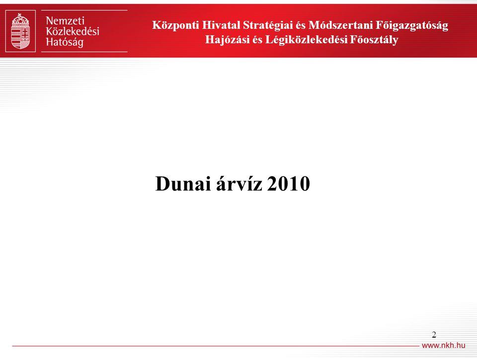 2 Dunai árvíz 2010 Központi Hivatal Stratégiai és Módszertani Főigazgatóság Hajózási és Légiközlekedési Főosztály
