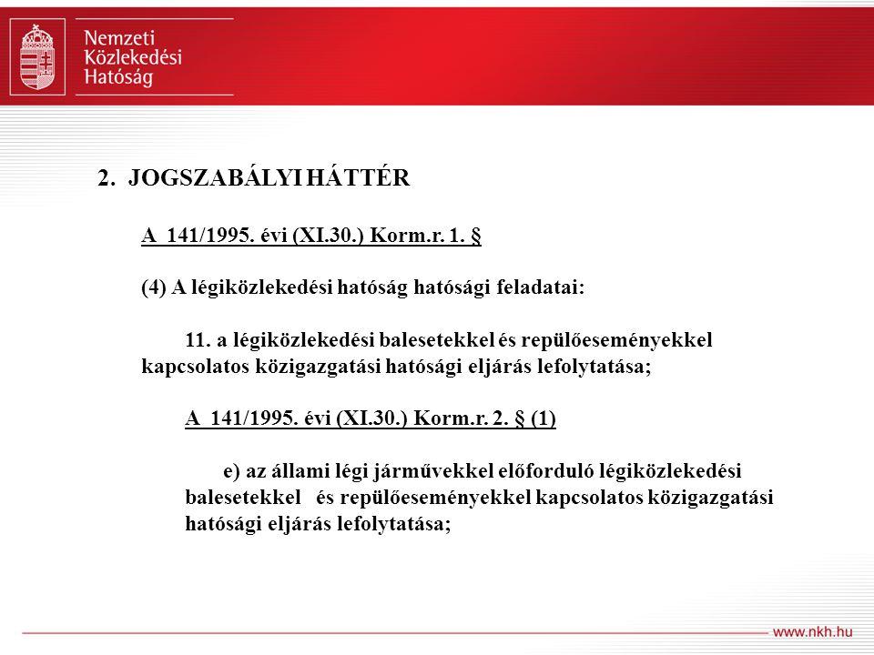 2. JOGSZABÁLYI HÁTTÉR A 141/1995. évi (XI.30.) Korm.r. 1. § (4) A légiközlekedési hatóság hatósági feladatai: 11. a légiközlekedési balesetekkel és re