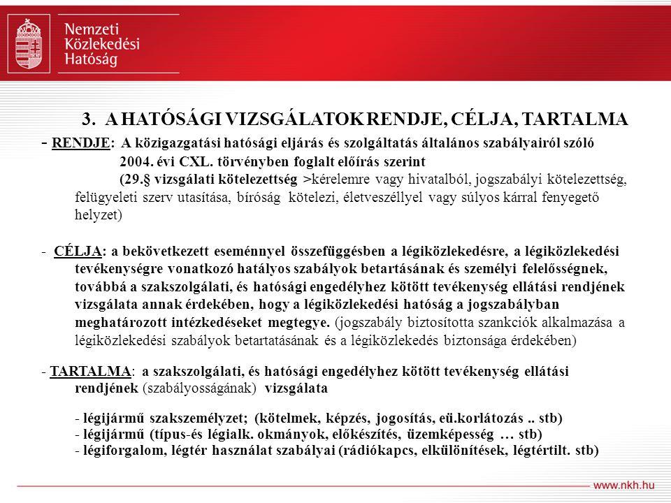 3. A HATÓSÁGI VIZSGÁLATOK RENDJE, CÉLJA, TARTALMA - RENDJE: A közigazgatási hatósági eljárás és szolgáltatás általános szabályairól szóló 2004. évi CX