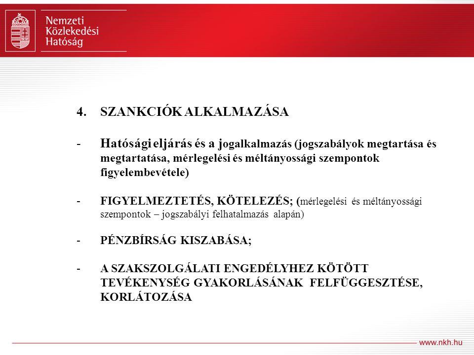 4.SZANKCIÓK ALKALMAZÁSA -Hatósági eljárás és a j ogalkalmazás (jogszabályok megtartása és megtartatása, mérlegelési és méltányossági szempontok figyel