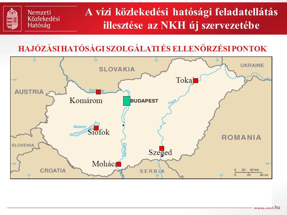 A vízi közlekedési hatósági feladatellátás illesztése az NKH új szervezetébe HAJÓZÁSI HATÓSÁGI SZOLGÁLATI ÉS ELLENŐRZÉSI PONTOK Komárom Tokaj Szeged Mohács Siófok