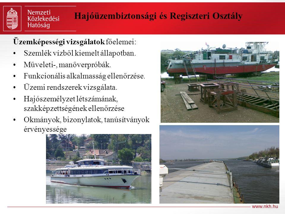 Hajóüzembiztonsági és Regiszteri Osztály Üzemképességi vizsgálatok főelemei: Szemlék vízből kiemelt állapotban. Műveleti-, manőverpróbák. Funkcionális