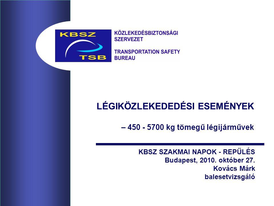 LÉGIKÖZLEKEDEDÉSI ESEMÉNYEK – 450 - 5700 kg tömegű légijárművek KBSZ SZAKMAI NAPOK - REPÜLÉS Budapest, 2010.