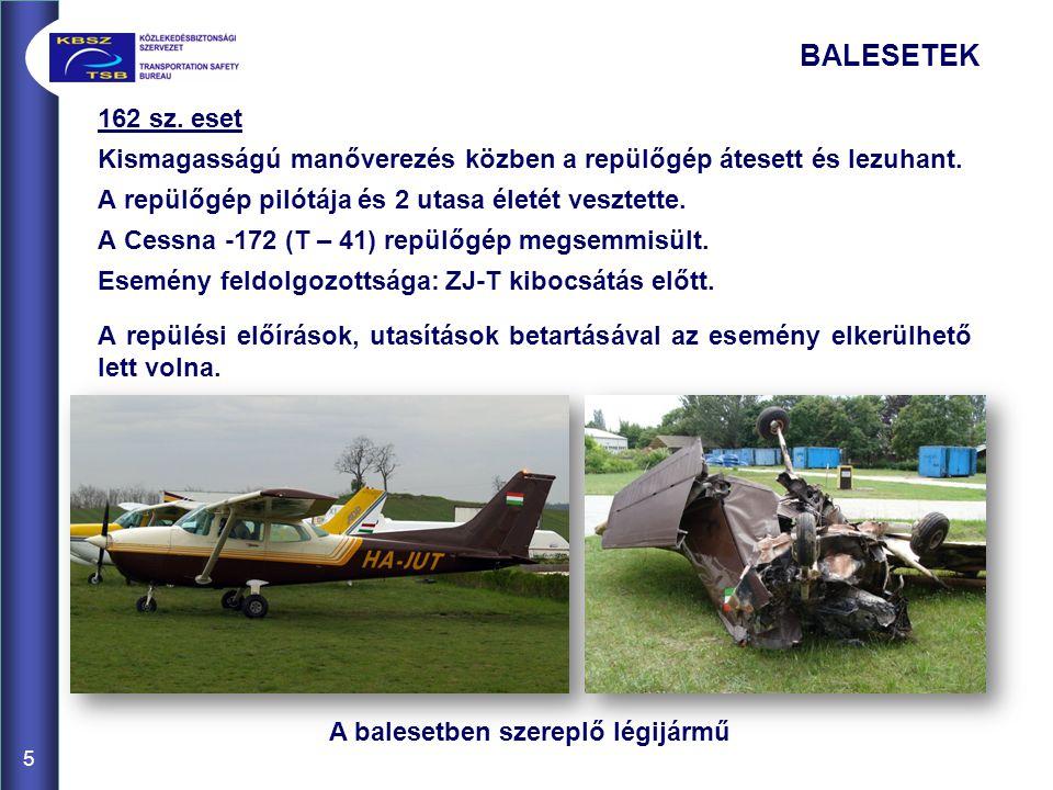 BALESETEK 162 sz. eset Kismagasságú manőverezés közben a repülőgép átesett és lezuhant.
