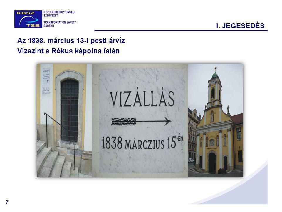 7 Az 1838. március 13-i pesti árvíz Vízszint a Rókus kápolna falán I. JEGESEDÉS