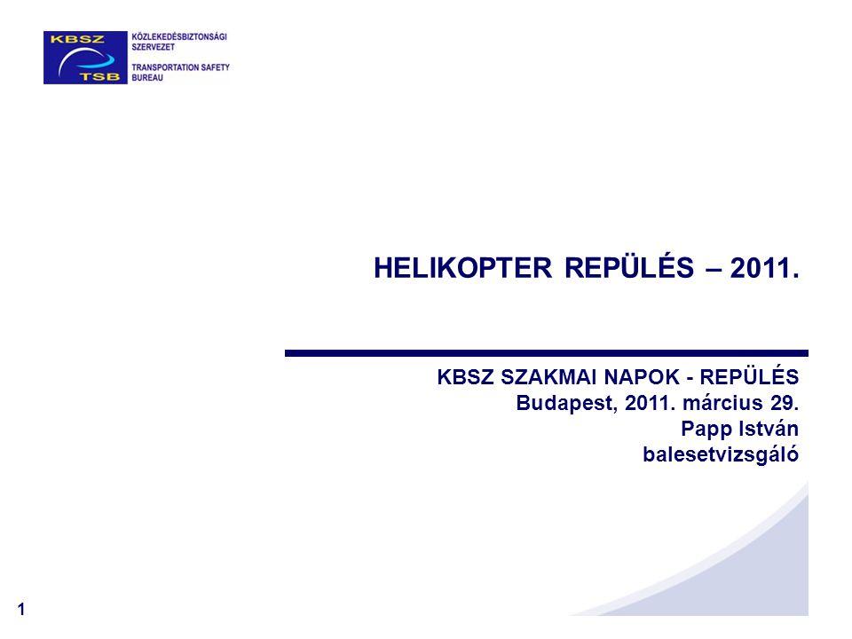 2 Magyarországon 16 polgári helikopter típus és variánsai vannak lajstromban, a következő összetételben: -5700 kg alatti összes 142 db -5700 kg feletti összes 4 db (MI-8, KA-32) -Érvényes légialkalmassággal 95 db -Lejárt légialkalmassági 51 db HELIKOPTEREK Összesen: 146 db